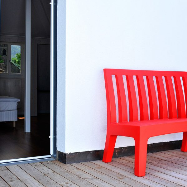 "Bench on private terrace of one of the Tralala Hotel ""XL"" Luxury family Suites in Montreux"