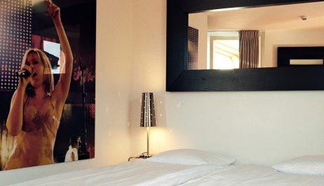 2 person city & mountain view Tralala Hotel Small Rooms in Montreux, with twin bed & mirror