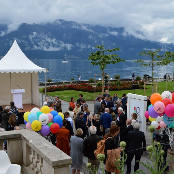 Guests enjoying a Montreux Vevey Riviera event on the shores of Lake Geneva in Switzerland