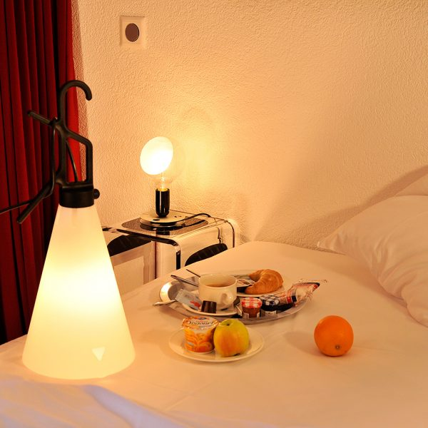 Breakfast in bed in Montreux Jazz festival music themed Large Rooms at Tralala Swiss Riviera Hotel