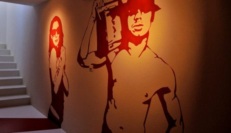 Murals of Montreux Jazz festival musicians adorn the walls of the Tralala Swiss Riviera Hotel