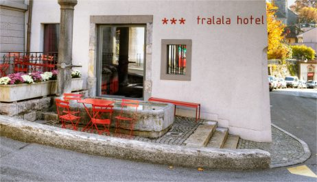 The historic exterior of the Tralala Design & Lifestyle hotel in Montreux on the Swiss Riviera
