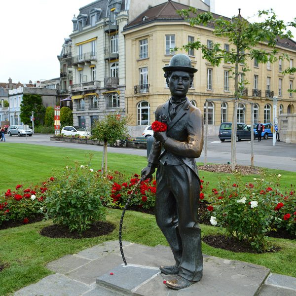 Charlie Chaplin statue in Vevey town in Switzerland, a short drive from the Tralala Hotel Montreux